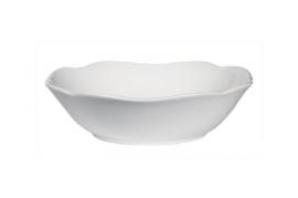 Hvid skål, bølget kant, 25 cm